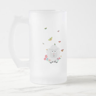 Sheep with flowers and butterflies Z1mk7 Frosted Glass Beer Mug