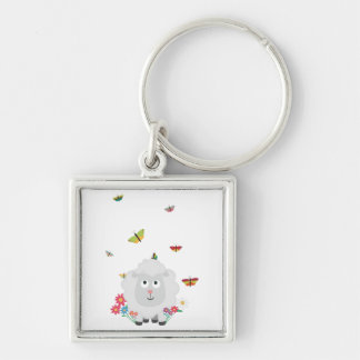 Sheep with flowers and butterflies Z1mk7 Key Ring
