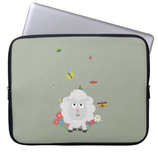 Sheep with flowers and butterflies Z1mk7 Laptop Sleeve