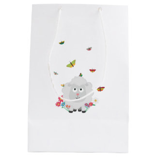 Sheep with flowers and butterflies Z1mk7 Medium Gift Bag