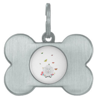 Sheep with flowers and butterflies Z1mk7 Pet ID Tag