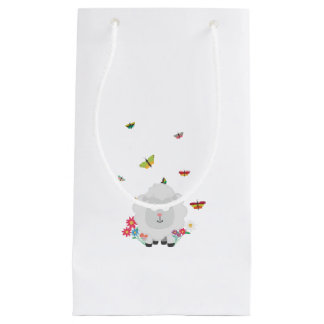 Sheep with flowers and butterflies Z1mk7 Small Gift Bag