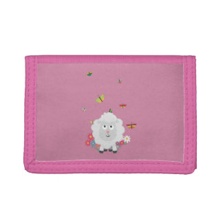 Sheep with flowers and butterflies Z1mk7 Tri-fold Wallets