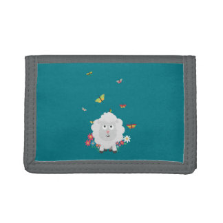 Sheep with flowers and butterflies Z1mk7 Trifold Wallet