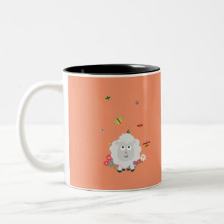 Sheep with flowers and butterflies Z1mk7 Two-Tone Coffee Mug