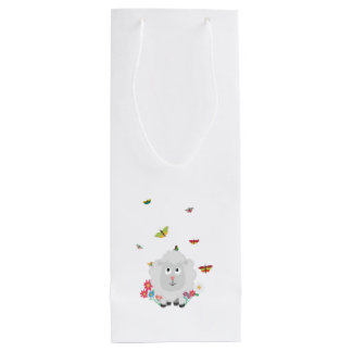 Sheep with flowers and butterflies Z1mk7 Wine Gift Bag