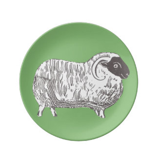 Sheep with Green Decorative Porcelain Plate