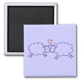 Sheep with Heart Square Magnet