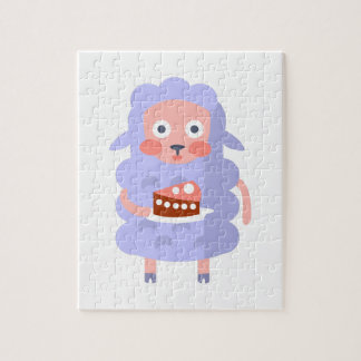 Sheep With Party Attributes Girly Stylized Funky S Jigsaw Puzzle