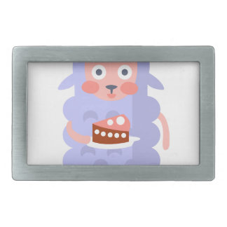 Sheep With Party Attributes Girly Stylized Funky S Rectangular Belt Buckle