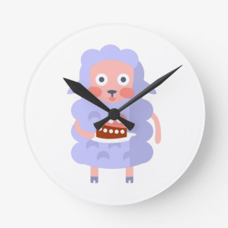Sheep With Party Attributes Girly Stylized Funky S Round Clock