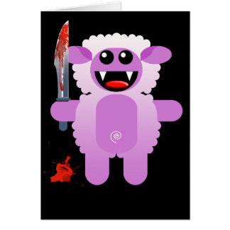 SHEEP WITH SHARP KNIFE GREETING CARD