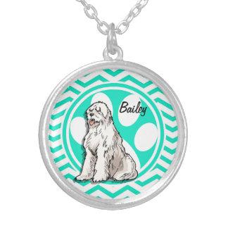 Sheepdog Aqua Green Chevron Personalized Necklace
