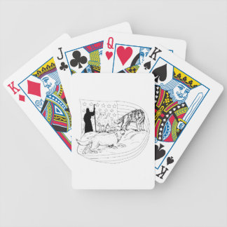 Sheepdog Defend Lamb from Wolf Drawing Bicycle Playing Cards