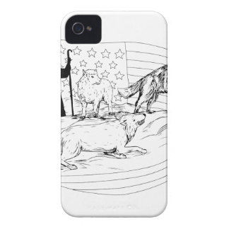 Sheepdog Defend Lamb from Wolf Drawing iPhone 4 Cover