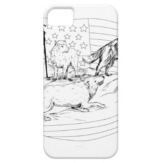 Sheepdog Defend Lamb from Wolf Drawing iPhone 5 Covers