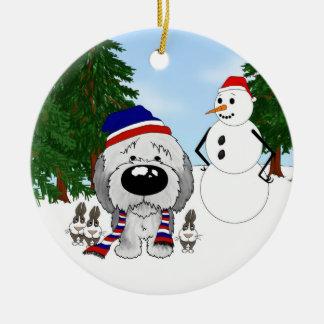 Sheepdog Winter Scene Ceramic Ornament