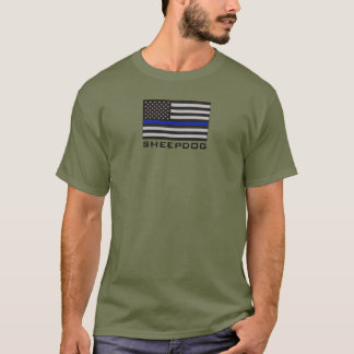 SHEEPDOG with THIN BLUE LINE AMERICAN FLAG T-Shirt