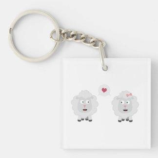 Sheeps in love with heart Z7b4v Key Ring