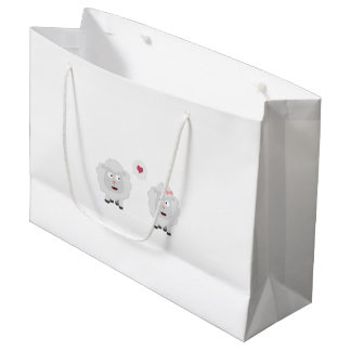 Sheeps in love with heart Z7b4v Large Gift Bag