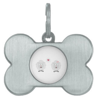 Sheeps in love with heart Z7b4v Pet ID Tag