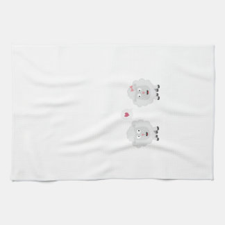 Sheeps in love with heart Z7b4v Tea Towel