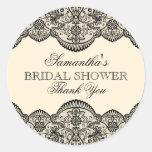 Sheer Lace Bridal Shower Round Sticker