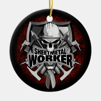 Sheet Metal Worker Skull Ceramic Ornament