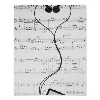 Sheet Music and Headphones Poster
