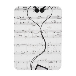 Sheet Music and Headphones Rectangular Photo Magnet