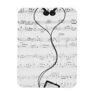 Sheet Music and Headphones Rectangular Photo Magnet