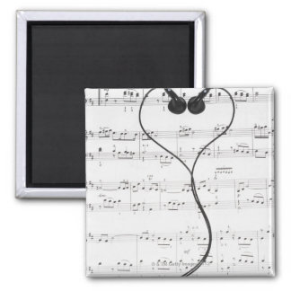 Sheet Music and Headphones Square Magnet