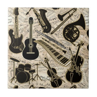Sheet Music and Instruments Black/Gold ID481 Ceramic Tile