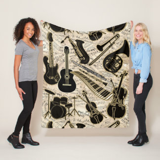 Sheet Music and Instruments Black/Gold ID481 Fleece Blanket