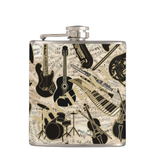 Sheet Music and Instruments Black/Gold ID481 Hip Flask
