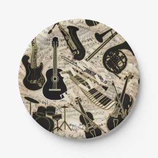 Sheet Music and Instruments Black/Gold ID481 Paper Plate