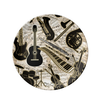 Sheet Music and Instruments Black/Gold ID481 Plate