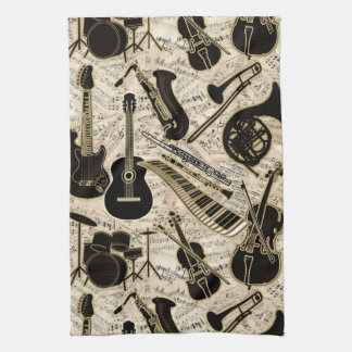 Sheet Music and Instruments Black/Gold ID481 Tea Towel