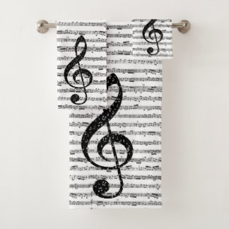 Sheet music bath towel set