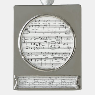 Sheet Music Black and White Pattern Silver Plated Banner Ornament