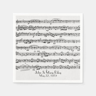 sheet music for wedding anniversary party paper napkin
