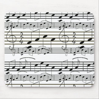 Sheet Music Notes Black and White Clef Note Mouse Pad