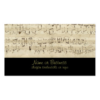 Sheet Music on Parchment Handwritten in Ink Business Card Template