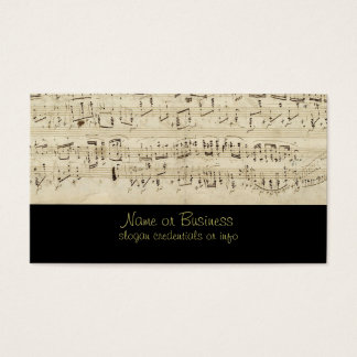 Sheet Music on Parchment Handwritten in Ink Business Card