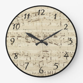 Sheet Music on Parchment Handwritten in Ink Large Clock
