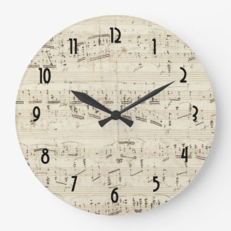 Sheet Music on Parchment Paper Large Clock