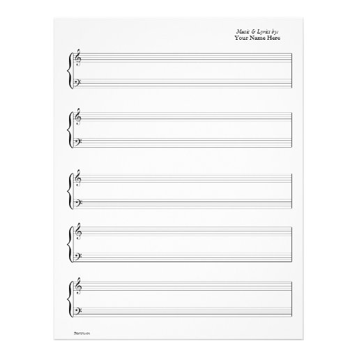 Sheet Music - Piano & Vocal (Write your own music) Full Color Flyer