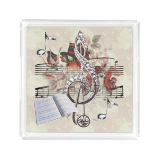 Sheet Music & Roses Silver Music Notes Acrylic Tray