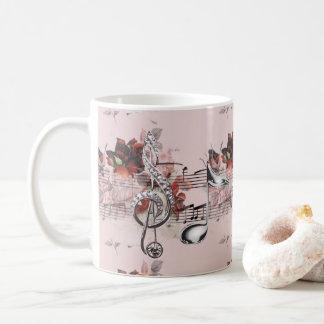 Sheet Music & Roses Silver Music Notes Coffee Mug