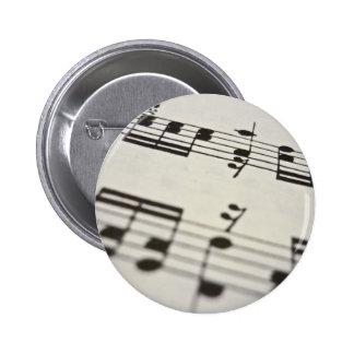 Sheet music score 6 cm round badge